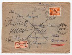 1947 YUGOSLAVIA,SERBIA,BELGRADE TO KRANJSKA GORA,REGISTERED COVER,PARTED-PARTI,RETURNED - Storia Postale