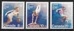 Canada 1976. Scott #B10-2 (MNH) Montreal Olympic Games, Basketball, Vaulting & Soccer ** Complete Set - Unused Stamps