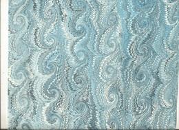Lot 8  ,Papier Marbrée , 5 Feuilles Peignées Bleu - Blanc Tourbillon - Loisirs Créatifs