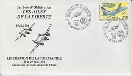 France 1994 Libération Normandie Ailes De La Liberté St André De L'Eure - Gedenkstempel