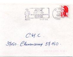 HERAULT - Dépt N° 34 = AGDE 1989 = FLAMME SECAP Illustrée ' VILLE GRECQUE / Cathédrale Fortifiée / PLAGES / MUSEES  ' - Marcophilie (Lettres)