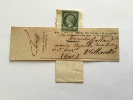 Lettre Avec Timbre Napoléon III Non Oblitéré Neuf Villevielle Gard - 1849-1876: Période Classique