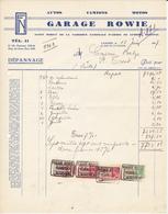 2 Facturen - Garage Rowie - Agent De La FN - Landen - 1937 - Automobilismo
