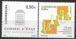 2006  Luxemburg Mi. 1714-5**MNH 150 Jahre Staatsrat, 75 Jahre Luxemburger Schachverband (FLDE). - Luxemburg