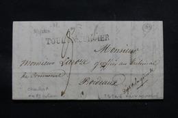 FRANCE - Marque Postale De Toulon Sur Mer Sur Lettre Pour Bordeaux En 1829 - L 57936 - 1801-1848: Precursors XIX