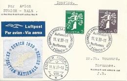 """Sonderflug  """"Schweiz.Landesausstellung Zürich"""" - Basel          1939 - Poste Aérienne"""