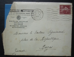 Paris XV 1932 Laboratoire Nativelle, Avec Publicité Médicale à L'intérieur Ouabaïne Arnaud - Marcophilie (Lettres)