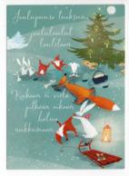 MODERN CHRISTMAS POSTCARD FINLAND - GNOMES - HARE - FOX - MOUSE - BIRD / BULLFINCH - SLED - Used - Altri