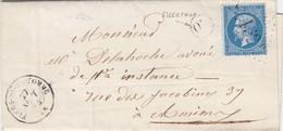 LETTRE. 27 SEPT 64. SOMME. FLERS-DE-LA-SOMME. GC 1521. ORIGINE RURALE OR = ESSERTAUX POUR AMIENS - 1849-1876: Période Classique