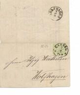 SH 0450. N° Mi 14 CASSEL 7.3 S/petit IMPRIME De 1870 Vers Wolfhagen. TB - Conf. De L' All. Du Nord