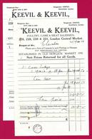 Deux Documents Commerciaux De La Maison Keevil Et Keevil Sise Smithfield Market à Londres - Années 1920 - United Kingdom