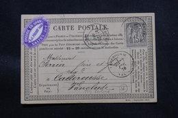 FRANCE - Carte Précurseur De Salins Pour Caderousse En 1876, Affranchissement Sage 15ct, étiquette Commerciale - L 57949 - Precursor Cards
