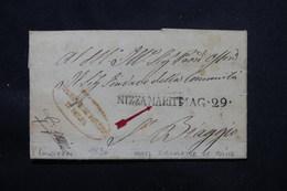 FRANCE / ITALIE - Lettre De Nice ( Formulaire De Police ) En 1820 Pour L 'Italie - L 57972 - 1801-1848: Precursors XIX