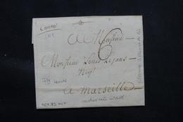 FRANCE - Marque Postale Manuscrite De Cannes Sur Lettre En 1771 Pour Marseille - L 57974 - 1701-1800: Vorläufer XVIII