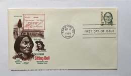 """US, FDC """"ARTMASTER SERIES"""" & STORY ON REAR ,,SITTING BULL 1831-1890RAPID CITY , SD 28 - Premiers Jours (FDC)"""