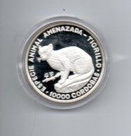 NICARAGUA 10000 CORDOBAS 1990 ZILVER PROOF WILDLIFE PROTECTION OCELOT - Nicaragua
