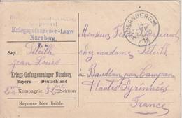 Carte En FM Pour Prisonnier Français Du Camp De Nürnberg (Bavière), Cachet Du 11 SEP 16 - Guerre De 1914-18