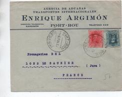 1925 - ENVELOPPE COMMERCIALE De PORT BOU Pour LONS LE SAUNIER (JURA) - Cartas