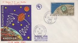 Enveloppe   FDC   1er  Jour   T.A.A.F   Télécommunications   Spatiales   1962 - FDC