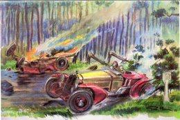 24 Heures Du Mans 1933 -  Sommer Sur Alfa Romeo Dépasse La Voiture De Mme Odette Siko - Illustrateur:Géo Ham - CPM - Le Mans