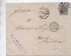 1890 - ENVELOPPE De MALAGA Pour NANTUA - Cartas