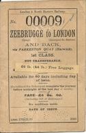 ZEEBRUGGE A LONDRES . 1ERE CLASSE . 1930 . BELGIQUE - Chemins De Fer
