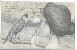 ILLUSTRATEUR    PATELLA    FEMME ET FAUCON ? OISEAU DE PROIE  TIRAGE 1900 - Künstlerkarten