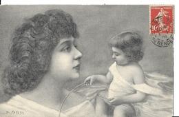 ILLUSTRATEUR  M.   PATELLA    FEMME  VISAGE  ET ENFANT - Künstlerkarten