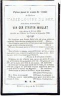 LIEGE / WAILLET - Marie-Louise DE BEX - Douairière VAN DER STRATEN WAILLET - °1801 Et Décédée Au Château De Waillet 1865 - Andachtsbilder