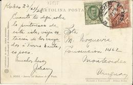 1928 - RODI - VIAGGIATA X MONTEVIDEO - 1928 - RODI - VIAGGIATA X MONTEVIDEO - BELLA AFFRANCATURA - Marcophilie