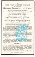 DP Schoolmeester - Henri Servais Lacante ° OostVleteren 1858 † Ieper 1939 X J. Didier Xx A. Van Wonterghem - Devotieprenten