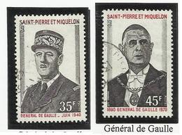 SAINT PIERRE ET MIQUELON SPM N° 419 Et 420 ° Oblitérés 1971 De Gaulle - St.Pierre Et Miquelon