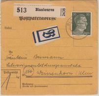 DR - 30 Pfg. AH Paketkarte Beutelstück Blaubeuren - Weissenhorn 15.3.45 !! - Storia Postale