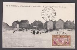 CPA Saint Pierre Et Miquelon,  Hiver 1923, A L'lle Aux Chiens Sur La Glace. - Saint-Pierre-et-Miquelon