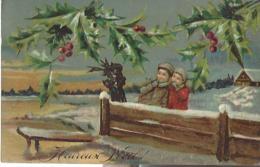 Carte Gaufrée  Heureux Noël Enfants Garçon Et Fille Houx - Christmas