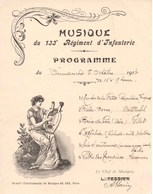 Petit Programme Musique Du 133 E Régiment D'Infanterie Dimanche 5 Octobre 1913 De 16H à 17H. - Régiments