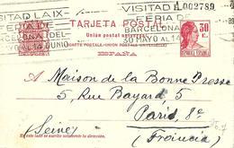 Barcelona Hacia Francia 1936 Entero Postal De 30 Cts. Cát. Laiz Nº 72   102,00 Euros - 1850-1931