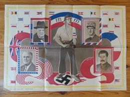 WW2 - Affiche Des FFI - Forces Françaises De L'Intérieur. Portraits De Churchill, De Gaulle, Roosevelt Et Staline. 1945 - Affiches