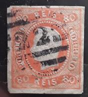 PORTUGAL 1866  D LUIS I , Yvert No 23 , 80 R Orange   Obl , Chiffres 22 ,TB Cote 70 Euros - Usado