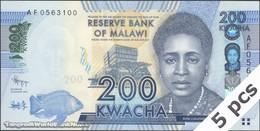 TWN - MALAWI 60a - 200 Kwacha 1.1.2012 DEALERS LOT X 5 - Prefix AF UNC - Malawi