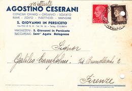 """S.GIOVANNI IN PERSICETO - SANT'AGATA BOLOGNESE - BOLOGNA - """"AGOSTINO CESARANI"""" CONCIMI CHIMICI,ZOLFO,RAME,MANGIMI - 1943 - Bologna"""