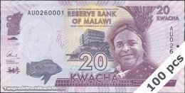 TWN - MALAWI 63b - 20 Kwacha 1.1.2015 DEALERS LOT X 100 - Prefix AU UNC - Malawi
