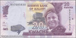 TWN - MALAWI 63c - 20 Kwacha 1.1.2016 Prefix BA UNC - Malawi