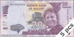 TWN - MALAWI 63c - 20 Kwacha 1.1.2016 DEALERS LOT X 5 - Prefix BA UNC - Malawi