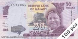 TWN - MALAWI 63c - 20 Kwacha 1.1.2016 DEALERS LOT X 100 - Prefix BA UNC - Malawi