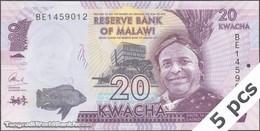 TWN - MALAWI 63c - 20 Kwacha 1.1.2016 DEALERS LOT X 5 - Prefix BE UNC - Malawi