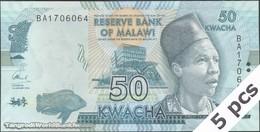 TWN - MALAWI 64c - 50 Kwacha 1.1.2016 DEALERS LOT X 5 - Prefix BA UNC - Malawi