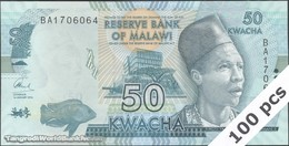 TWN - MALAWI 64c - 50 Kwacha 1.1.2016 DEALERS LOT X 100 - Prefix BA UNC - Malawi