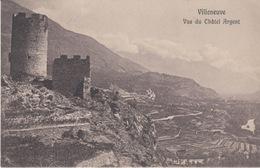 VALLE D'AOSTA  - VILLENEUE - VUE DU CHATEL ARGENT - VIAGGIATA 1914 - Andere Steden