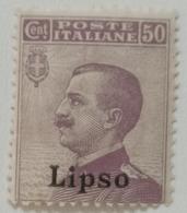 FRANCOBOLLO COLONIE ITALIANE EGEO - LIPSO - 1912 CENT 50 -VIOLETTO -3-7 - Aegean (Lipso)